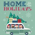 Fancy winter Holiday hand drawn vector poster Royalty Free Stock Photo