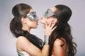 Fancy Women in Surrealistic Stylized Silver Masks
