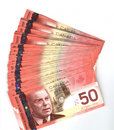 Fanned out Canadian fifty dollar bills Stock Photos