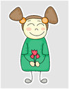 Fanny cartoon girl with flowers Stock Photo