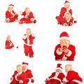 Fanny kids in santa clauss costumes Royalty Free Stock Photos