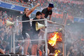 Fans burn scarfs during the match between shakhtar donetsk city ukraine vs dinamo kiev premier league rd round august donetsk Stock Images