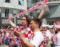 Fans of the Croatian soccer (football) team Stock Photo