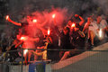 Fans harness fireworks photo was taken during the match between shakhtar donetsk city and dynamo kyiv at stadium arena lviv lviv Stock Images