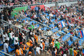 Fans in the stands on football match moscow aug between russia national team and ivory coast at lokomotiv stadium august Royalty Free Stock Photos