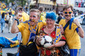 Fans of the Swedish national team Royalty Free Stock Images