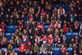 Fans on tribune moscow october during hockey game vityaz vs barys russia khl championship october in moscow russia vityaz Royalty Free Stock Photo