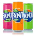 Fanta lemonade soft drinks in cans isolated on a white background Royalty Free Stock Photo