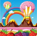 Fantacy land with canday balloons and fruits on the beach