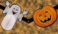 Fantasma y calabaza Foto de archivo libre de regalías