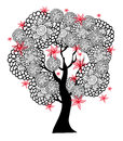 Fantastic black and white tree with red flowers Royalty Free Stock Photo