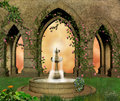 Fantastic castle garden Royalty Free Stock Photo