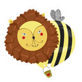 Fantastic character lion bee with a bucket in his paws Stock Photos