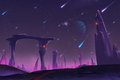 Fantastic and Exotic Allen Planets Environment: Meteor Shower at Night