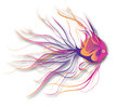 Fantastic fish on wite vector illustration Royalty Free Stock Photography
