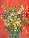 Fantastic flower bouquet oil painting illustrating a in a glass vase on red background Stock Photo