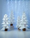 Fantastic forest of paper Christmas trees vertical Royalty Free Stock Photo