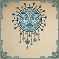 Fantastic image of the sun. Metal amulet. Background - a frame from iron elements, imitation of old paper.