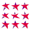 Fantastic isolated simpe flat red and violet color stars set of unusual shape. Collection of vector logos of the