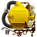 Fantastic machine raster version of vector isolated image of the complex with yellow round boiler crimped pipe chemical flask sign Stock Image
