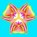 Fantastic neon flower, abstract shape with lots of blending lines Royalty Free Stock Photo