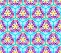 Fantastic neon flower seamless pattern, abstract shape with lots of blending lines Royalty Free Stock Photo