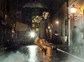 Fantastic photo of attractive girl jumping in heavy rain lady Royalty Free Stock Images