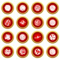 Fantastic planets icon red circle set Royalty Free Stock Photo