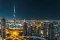 Fantastic rooftop view of Dubai's modern architecture by night