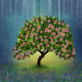 Fantastic tree view of a flowered in a dreamy night Stock Photo
