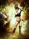 Fantastic she warrior fantasy art for your projects and or your pleasure Royalty Free Stock Photo