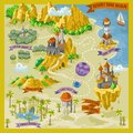 Fantasy adventure map for cartography with colorful doodle hand draw illustration in desert land