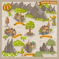 Fantasy adventure map for cartography with colorful doodle hand draw vector illustration of Mountain Kingdom