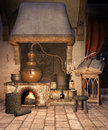 Fantasy alchemical furnace Stock Images