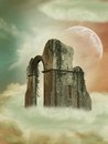 Fantasy backgound in the heaven with big structure Royalty Free Stock Photos
