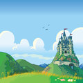 Fantasy background with castle vector cartoon illustration of a rolling green hills and a in the distance Royalty Free Stock Photography