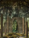 Fantasy background in a forest with old structure Royalty Free Stock Images