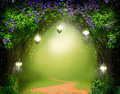 Fantasy  background . Magic forest with road. Royalty Free Stock Photo