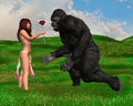 Fantasy beauty beast act of kindness a and the illustration a beautiful young woman gives a rose flower to an angry gorilla ape as Stock Images