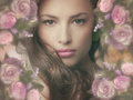 Fantasy beauty beautiful woman with frame of flowers Royalty Free Stock Image