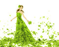 Fantasy beauty woman in leaves dress fashion seasons spring creative beautiful girl green summer gown over white background Royalty Free Stock Photo