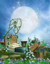 Fantasy bed and moon Royalty Free Stock Photography