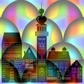 Fantasy black town silhouette on rainbow spheres background landmark of the city is intertwined with bubbles fairytale Stock Images