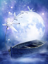 Fantasy boat with swans Stock Images
