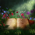 Fantasy book in a forest at night old on the ground with flowers the Royalty Free Stock Photography