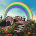 Fantasy bridge and rainbow