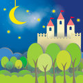 Fantasy Castle card in midnight background Royalty Free Stock Images