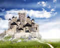 Fantasy castle with clouds.