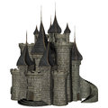 Fantasy castle d rendered illustration of on white background isolated Royalty Free Stock Images