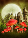 Fantasy castle and mushrooms Stock Photo